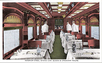 Queen and Crescent Route - dining car, postcard, date unknown