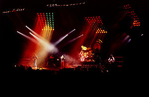 Queen during a live concert in Norway in 1982.