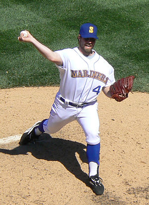 R.A. Dickey - Dickey pitching for the Seattle Mariners in 2008