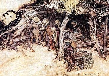 illustrazione di Arthur Rackham. degli elfi in Sogno di una notte di mezza estate di William Shakespeare