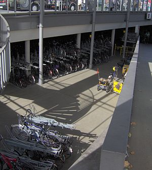 Bicycle parking station - Interior of Radstation in Münster, Germany.