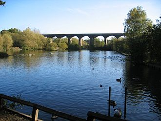 River Tame, Greater Manchester - Railway viaduct and former lodge at Reddish Vale