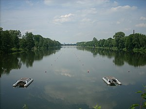 Albano buoy system - The Albano lane system in use at Duisburg regatta course.