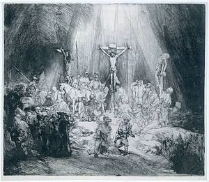 Clayton Mordaunt Cracherode - The Three Crosses, etching by Rembrandt, 1653, State III of IV. Cracherode owned five impressions of this print, although not the one shown.