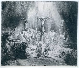 "Old master print - ""The Three Crosses"", etching by Rembrandt, 1653, state III of IV"