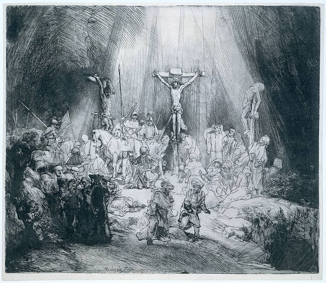 """The Three Crosses"", drypoint by Rembrandt, 1653, state III of IV Rembrandt The Three Crosses 1653.jpg"
