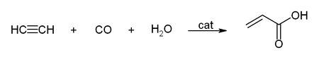 Hydrocarboxylation of acetylene