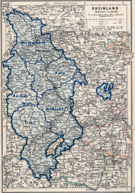 Karte der Rheinprovinz, 1815 bis 1919