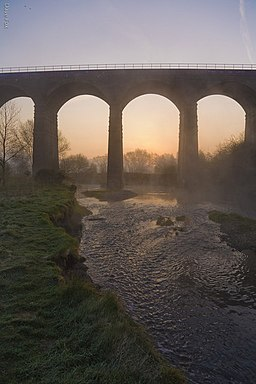 River Tame going under the Reddish - New Mills, Buxton Railway Viaduct - geograph.org.uk - 391374