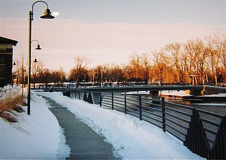 Elkhart, Indiana - Elkhart's downtown riverwalk on a wintry evening.
