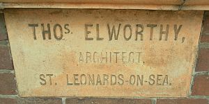 Robertsbridge United Reformed Church - The architect Thomas Elworthy inserted this stone in the brick façade.