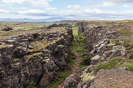 Canyon along the Lögberg (icelandic for Law Rock), Þingvellir National Park, Southern Region, Iceland.