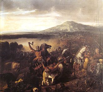 Norman conquest of southern Italy - Roger I of Sicily at the 1063 battle of Cerami, victorious over 35,000 Saracens