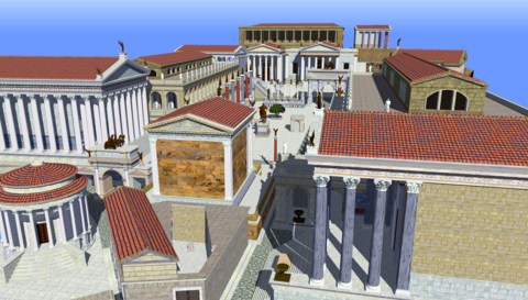 The Roman Forum, the political, economic, cultural, and religious center of the city during the Republic and later Empire Roman forum sketch up model.png
