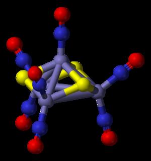 Metal nitrosyl complex - Image: Roussin's black salt anion 3D balls