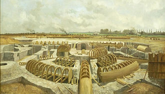 Henri Alexis Brialmont - Painting depicting a Belgian fort of the period under construction