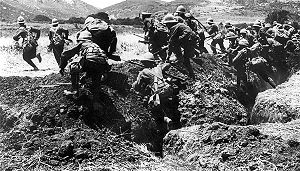 A. P. Herbert - Soldiers of the Royal Naval Division training to leave a trench during Gallipoli, 1915.