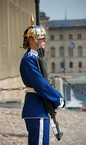 Royal Guards (Sweden) - Female Royal Swedish Guard in Stockholm.