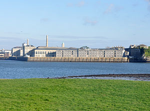 Royal William Victualling Yard - The Yard viewed from Cremyll; Clarence building is in the foreground