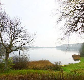 Rugaard - View from the castle looking east over Nørresø towards the Kattegat