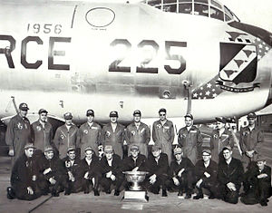 "11th Wing - 1956 SAC Fairchild Trophy Winner, ""Best Bomb Wing in SAC"", 11th Bombardment Wing crew in front of Convair B-36J"