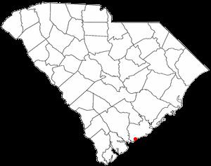 Seabrook Island, South Carolina - Image: SC Map doton Kiawah Island