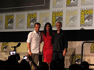 Gravity (2013 film) - David Heyman, Sandra Bullock, and Alfonso Cuarón at the 2013 San Diego Comic-Con International promoting Gravity