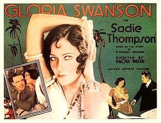 Lobby card for Sadie Thompson with head high portrait of woman in her thirties