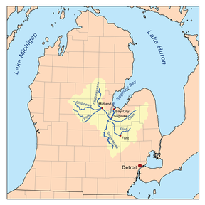 Map of the Saginaw River watershed showing the Pine River as one of its major tributaries