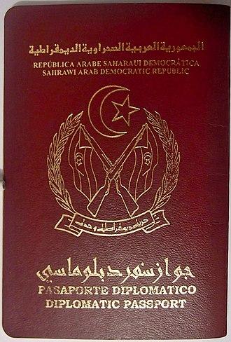 Sahrawi passport - Image: Sahrawi passport diplomatic 01
