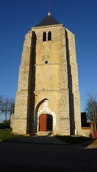 Saint-Loup-d'Ordon, Yonne, Burgundy, France.  Saint-Loup church in Saint-Loup-d'Ordon, the church tower.