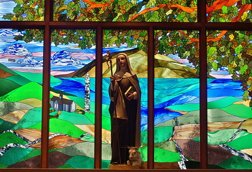 Saint Brigid of Kildare Church (Dublin, Ohio) - statue of Saint Brigid.jpg
