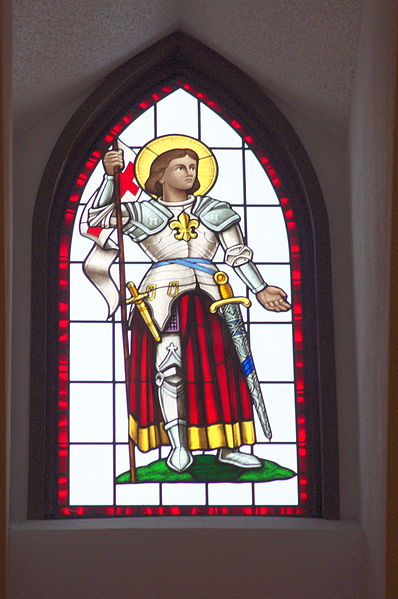 File:Saint Joan of Arc Catholic Church (Powell, Ohio), interior, stained glass, St. Joan of Arc.jpg