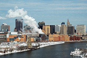 Saint Paul, Minnesota - The city skyline from the southwest in the winter