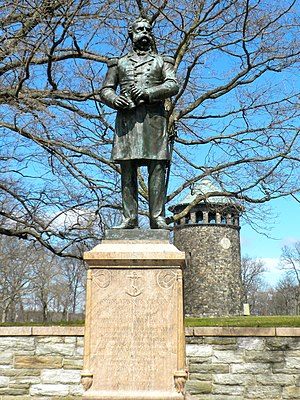 Rockford Park - Admiral Samuel DuPont statue and Rockford Tower, Rockford Park, March 2010