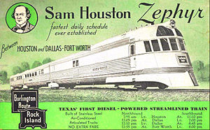 Sam Houston Zephyr - First trainset of the line which was destroyed by fire in 1944.