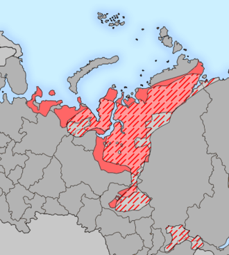 Samoyedic peoples - Geographical distribution of Samoyedic-speaking peoples in the 17th and 20th centuries
