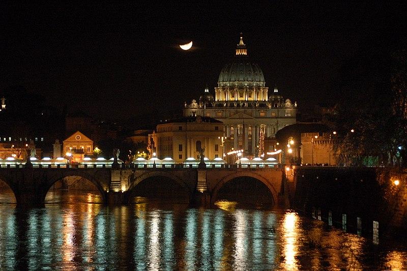 File:San Pietro e Ponte SAngelo (notte).jpg