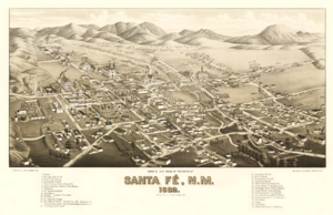 English: A Areal map of Santa Fe, New Mexico d...