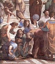 Euclides, em detalhe do afresco pintado por Rafael, A Escola de Atenas
