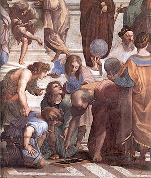 Euclidean geometry - Detail from Raphael's The School of Athens featuring a Greek mathematician – perhaps representing Euclid or Archimedes – using a compass to draw a geometric construction.
