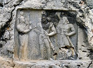 Barm-e Delak - Rock relief of Sasanian king Bahram II at Sarab-e Qandil (AKA Tang-e Qandil), vicinity of Bishapour, near modern Kazerun
