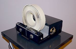 Carousel slide projector - The Sawyer's Rotomatic slide projector was introduced in 1963.