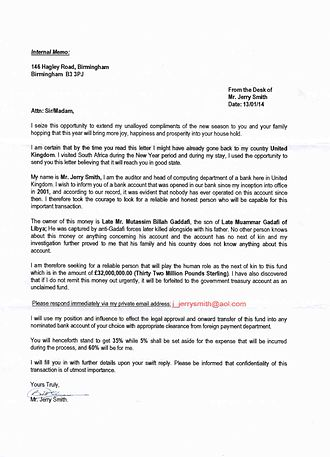 Advance-fee scam - Scam letter posted within South Africa