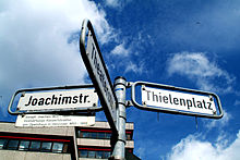 Straßenschild der Joachimstraße in Hannover mit Legende (Quelle: Wikimedia)