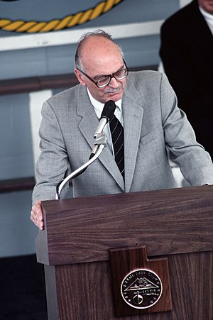 Scott M. Matheson - Image: Scott Matheson speaking at the commissioning ceremony of the USS Salt Lake City, May 12, 1984