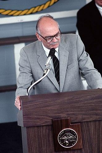 Scott M. Matheson - Image: Scott Matheson speaking at the commissioning ceremony of the USS Salt Lake City, May 12, 1984