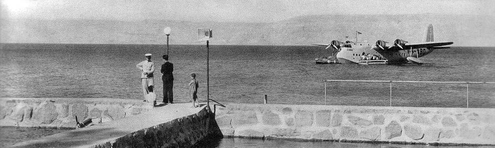 Seaplane refueling on the Sea of Galilee, 1938
