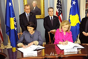 Atifete Jahjaga - President Jahjaga and Secretary Clinton sign the US-Kosovo Agreement on the Protection and Preservation of Cultural Properties in Washington, DC