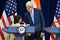 Secretary Kerry Shakes Hands With Indian Minister of External Affairs Swaraj Following Their Remarks at the U.S.-India Strategic and Commercial Dialogue Joint Press Conference (21008577674).jpg
